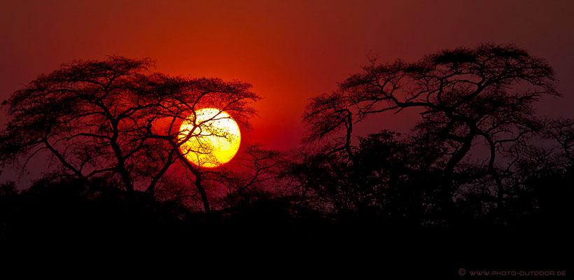 Sonnenuntergang am Kwando-River/Nordnamibia