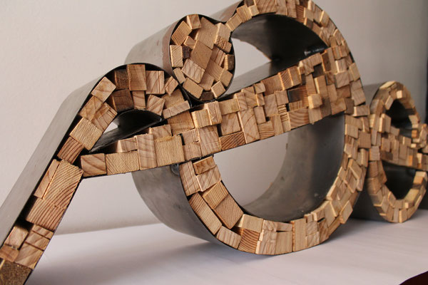 steel, wood, sculpture,santiflores