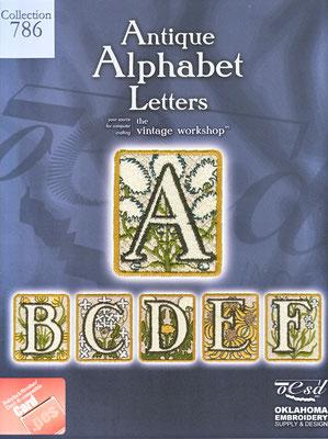Alphabet Antique Letters Card #786