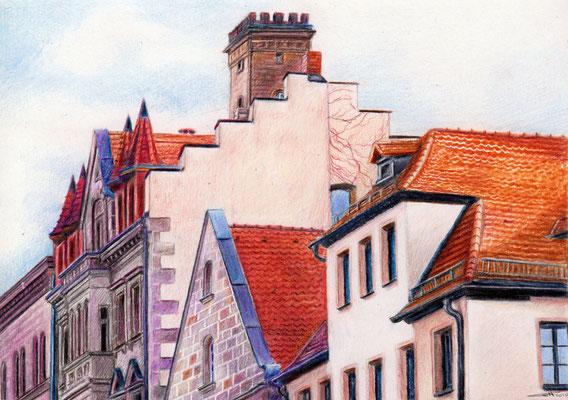 """""""Rathausviertel Fürth"""" - 18 x 13 cm - Buntstift auf Papier - 2010"""