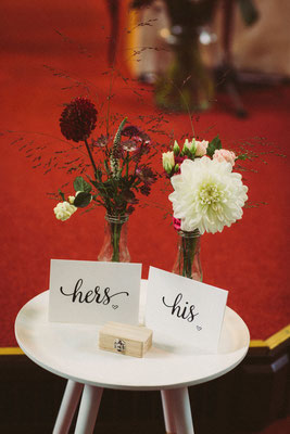 Kleine bloemenvaasjes / trouwringen