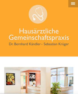 Website Hausarztpraxis Kassel, mobile Ansicht