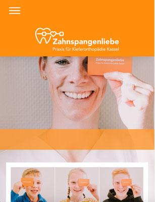 Website Zahnspangenliebe Ansicht MOBIL