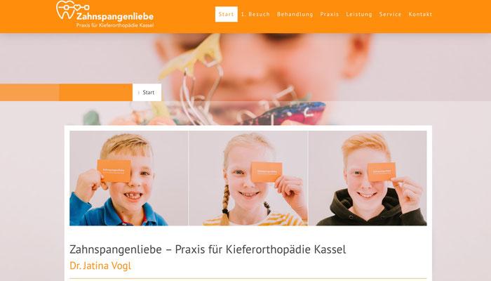 Website Zahnspangenliebe Ansicht PC