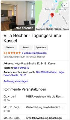 Referenz Villa Becher Tagungsrärume Kassel