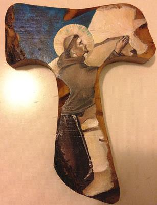 San Francesco, miracolo alla fonte - Tecnica, su radice d'ulivo