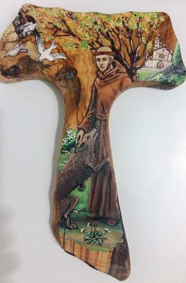 San Francesco e il lupo - Tecnica, su radice d'ulivo