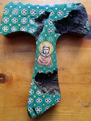 San Francesco - Tecnica, su radice d'ulivo