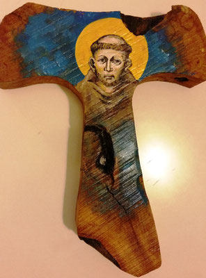 San Francesco di Cimabue 1 - Tecnica, su radice d'ulivo