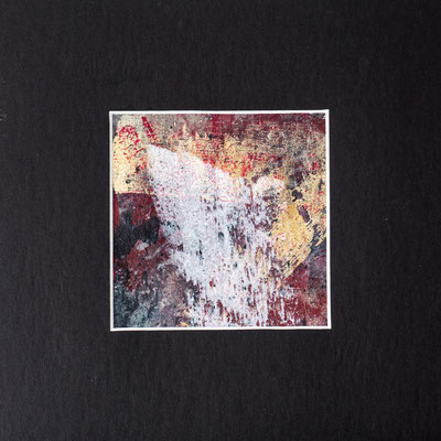 Miniatur 20x20 (9,5x9,5) Acrylmischtechnik verschiedenen Papieren (Japanpapier, Seidenpapier u.a.) aufgezogen auf Acrylmalblockpapier Grammatur 200 und mit einem Profi-Passepartout 1,4 mm