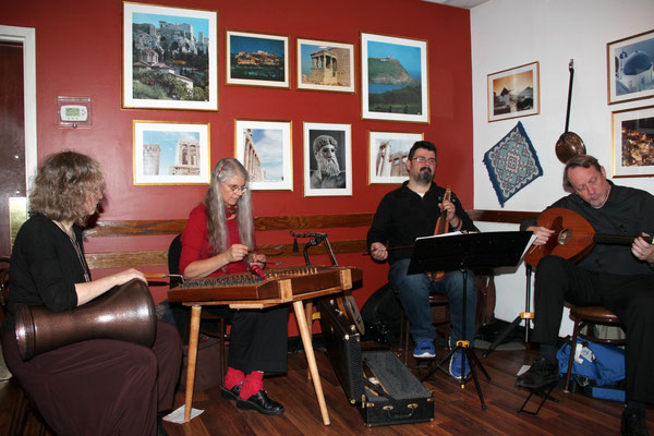 Karpouzi Trio with guest percussionist Batja Bell.