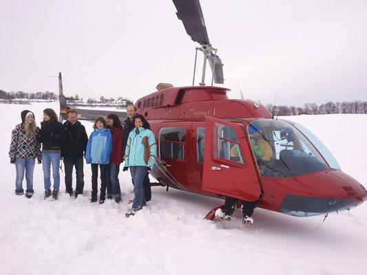 Charterflug auf Albhochfläche - Landung im Schnee