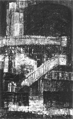 工場Ⅱ 1959 Oil on board 150x91cm 第23回新制作協会出展作品1959