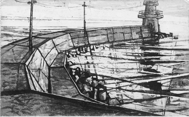 知多師崎港灯台 1959 日本画・銀箔・鳥子和紙 90x150cm