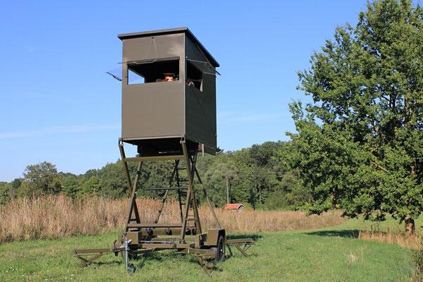 Sedlmaier Revierbedarf, Mobile Schlafkanzel auf Scherenhebebühne, Jäger, Jagd, Wild, Wald
