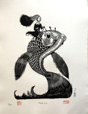 mattroussel_gravure_sur_bois_flying fish 50x70 280€