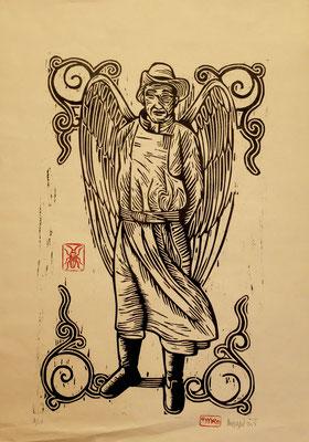 Gravure sur bois - bois gravé : Ange Mongol 40x35 - Papier kraft- 120€