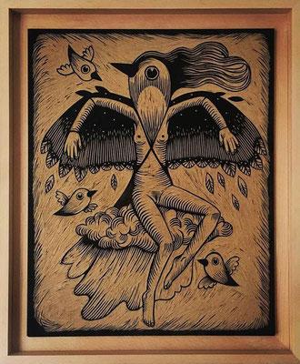 mattroussel_Bois-gravé-feuille-d'or-mad-moiselle 1500€ 40x50cm