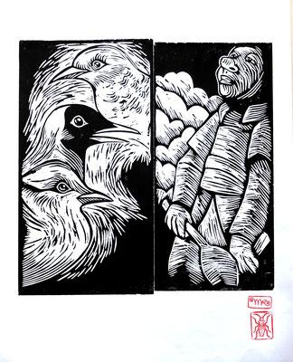 Gravure sur bois - bois gravé : Zicare  40x40-Papier japonais-  120€