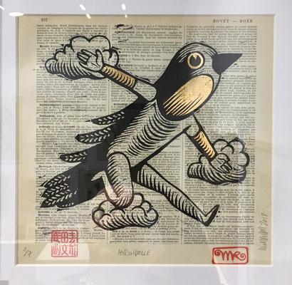 mattroussel_gravure_sur_bois-feuille-d'or-hirndelle- 170€ -25x25cm