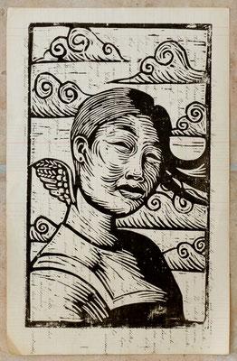 Gravure sur bois - bois gravé : Mongole 35x20 -Papier 1880 -100€