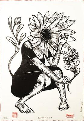 Marguerite papier blanc 50x70 260€ mattroussel_gravure_sur_bois