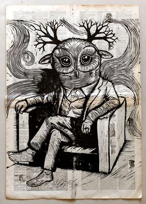 Gravure sur bois - bois gravé : Hibou rêve 45x60 -Papier encyclopedie 1901-  230€