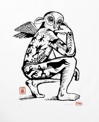 Gravure sur bois - bois gravé : Hibootatoo 45x60 -Papier vinci-  200€