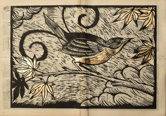 Gravure sur bois - bois gravé : Oiseau lyre 45x60  -Papier encyclopedie 1901- feuille d'or - 280€