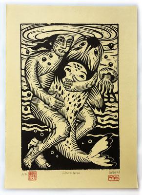 """""""L'esprit du phoque"""" gravure sur bois/woodcut 50x35 250€"""