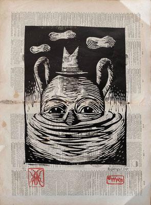 """""""Papo2"""" gravure sur bois/woodcut-20x30- 90€"""