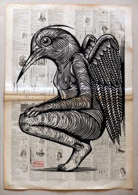 Gravure sur bois - bois gravé : Ange oiseau 45x60-Papier encyclopedie 1901  -250€
