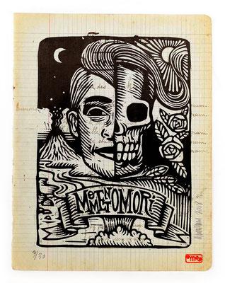 """""""Memento mori""""gravure sur bois/woodcut 13x 18 150€"""