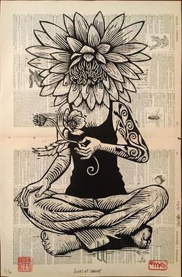 Lotus et pavot papier encyclopedie 45x68 280€ mattroussel_gravure_sur_bois