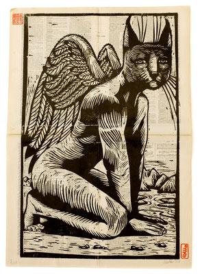 """""""Ange chat"""" gravure sur bois 70X40 250€"""