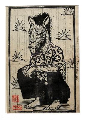 Gravure sur bois - bois gravé : Monsieur Cheval 40x25  -Papier encyclopedie 1901-  170€