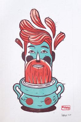 """""""hipsterpot"""" gravure sur bois/woodcut  40x50  150€  4 plaques"""