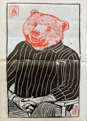 Gravure sur bois - bois gravé : Monsieur Ours 40x25-  Papier encyclopedie 1901-  170€