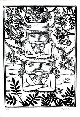 Gravure sur bois - bois gravé : Soeur Totem 40x70 - Papier blanc vinci - 180€