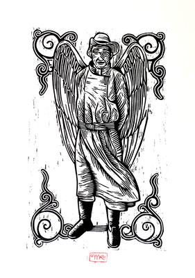 Gravure sur bois - bois gravé : Ange Mongol 40x35 - Papier blanc vinci- 120€