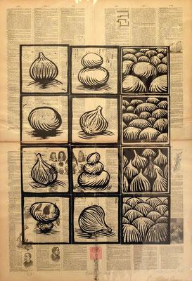 Gravure sur bois - bois gravé : Figues et galets 45x60 -Papier encyclopedie 1901-  130€