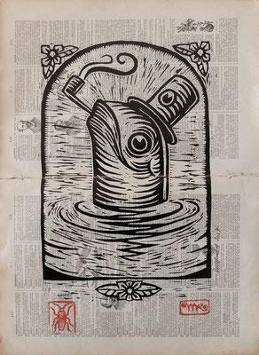 """""""Pipe2"""" gravure sur bois/woodcut-20x30- 150€"""