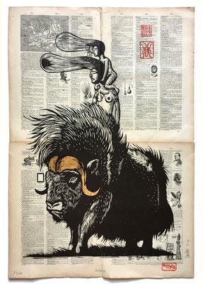 mattroussel_gravure_sur_bois_Muskox 50x70 280€