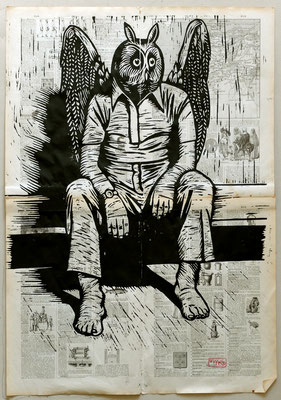Gravure sur bois - bois gravé : Ange hibou 45x60 -Papier encyclopedie 1901 - 160€
