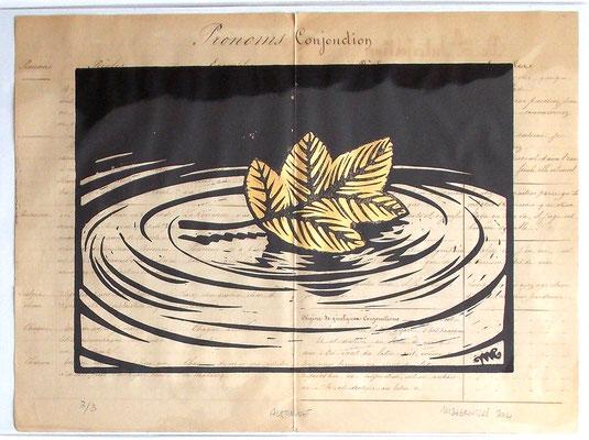 Gravure sur bois - bois gravé : Automne  35x20  -Papier 1880- feuille d'or - 150€