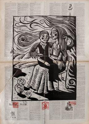 """""""Voir2"""" gravure sur bois/woodcut-30x40 - 120€"""