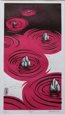 Gravure sur bois - bois gravé : Zen rouge 40x30 -Papier vinci- 90€