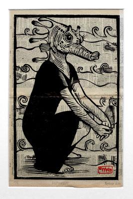 Gravure sur bois - bois gravé : Madame Hypocampe 40x25  -Papier encyclopedie 1901-  170€