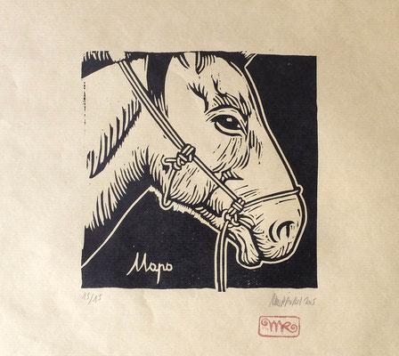 Gravure sur bois : Cheval mongol 25x25 -Papier kraft- 70 €