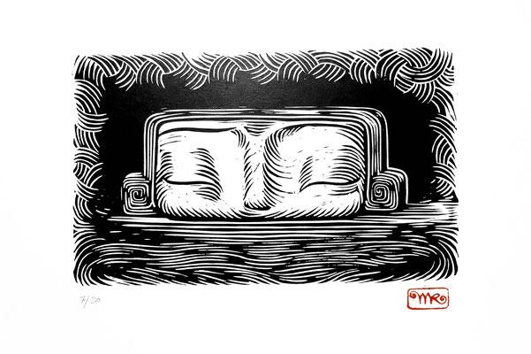 Linogravure : Gulliver 35x20 -Papier vinci-90€